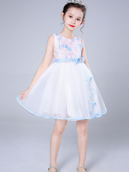 Milanoo Flower Girl Dresses Jewel Neck Tulle Sleeveless Knee-Length Princess Kids Social Party Dresses