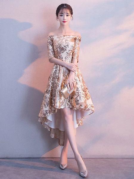 Milanoo Vestido corto de graduacion asimetrica con lentejuelas doradas y lentejuelas doradas ligeras