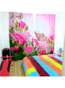Adorable Pink Roses and Butterflies Printed Custom 3D Curtain for Living Room