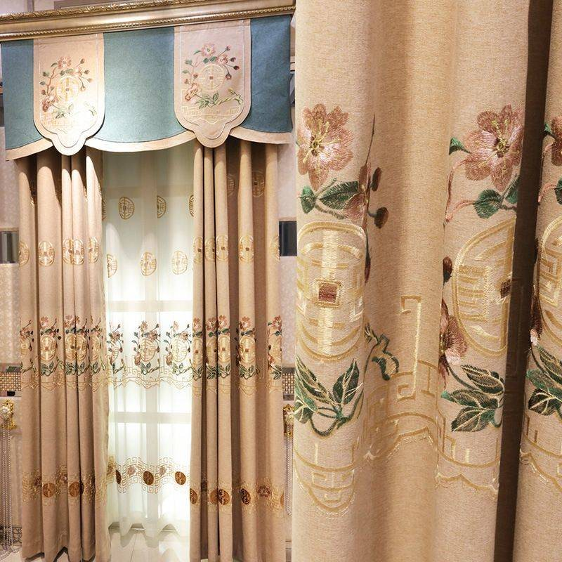American Pastoral Style Elegant Embroidered Floral Decorative 2 Panels Custom Grommet Curtains For Living Room Bedroom