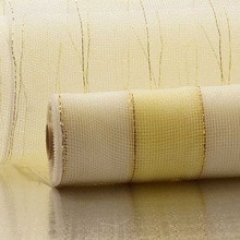 White/Ivory 2-Clrd Wide Strp Deco Mesh - 21 X 10 Yards - Polypropylene / Cellophane - Wraps by Paper Mart
