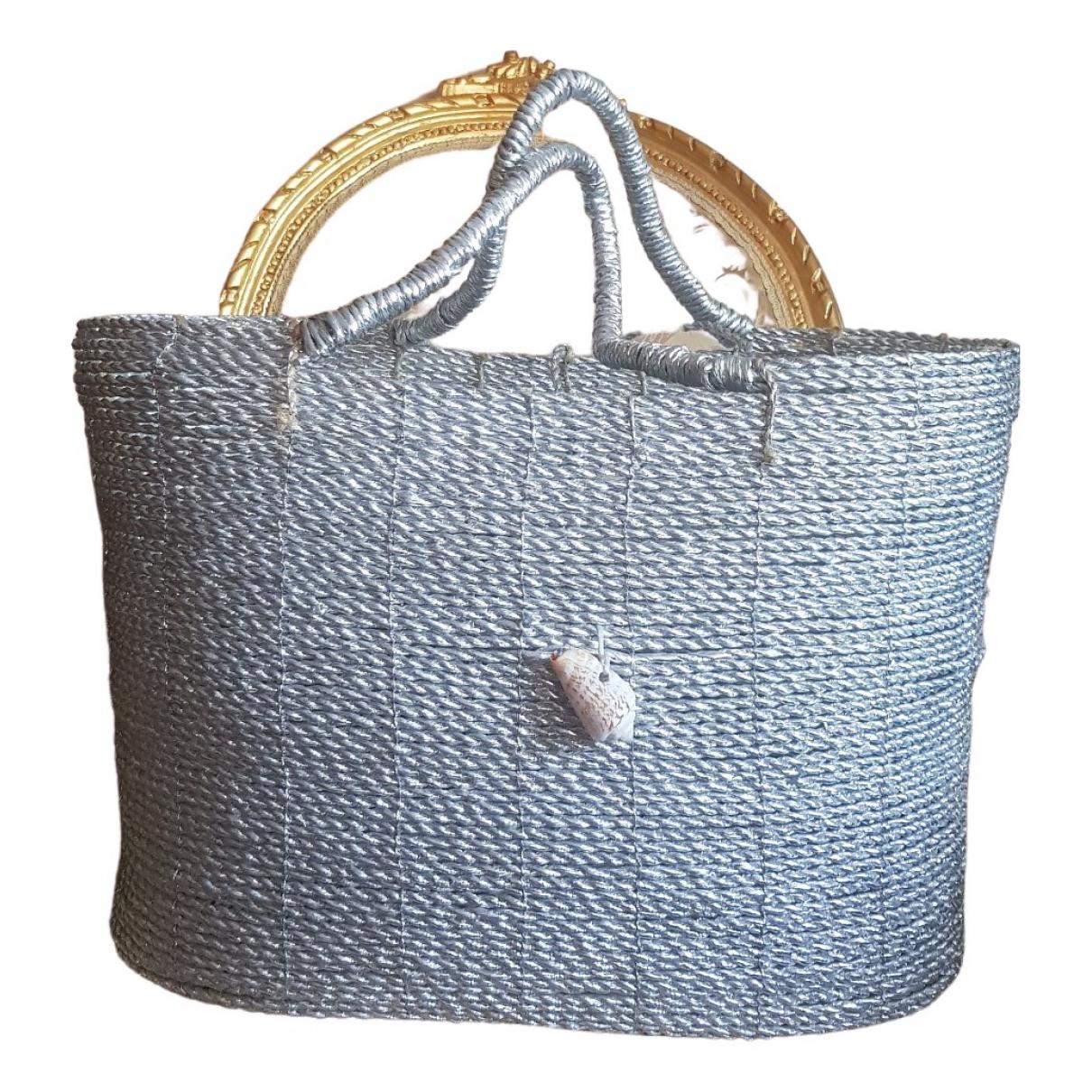 Non Signe / Unsigned Hippie Chic Handtasche in  Silber Stroh
