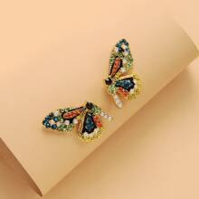 Rhinestone Decor Butterfly Stud Earrings