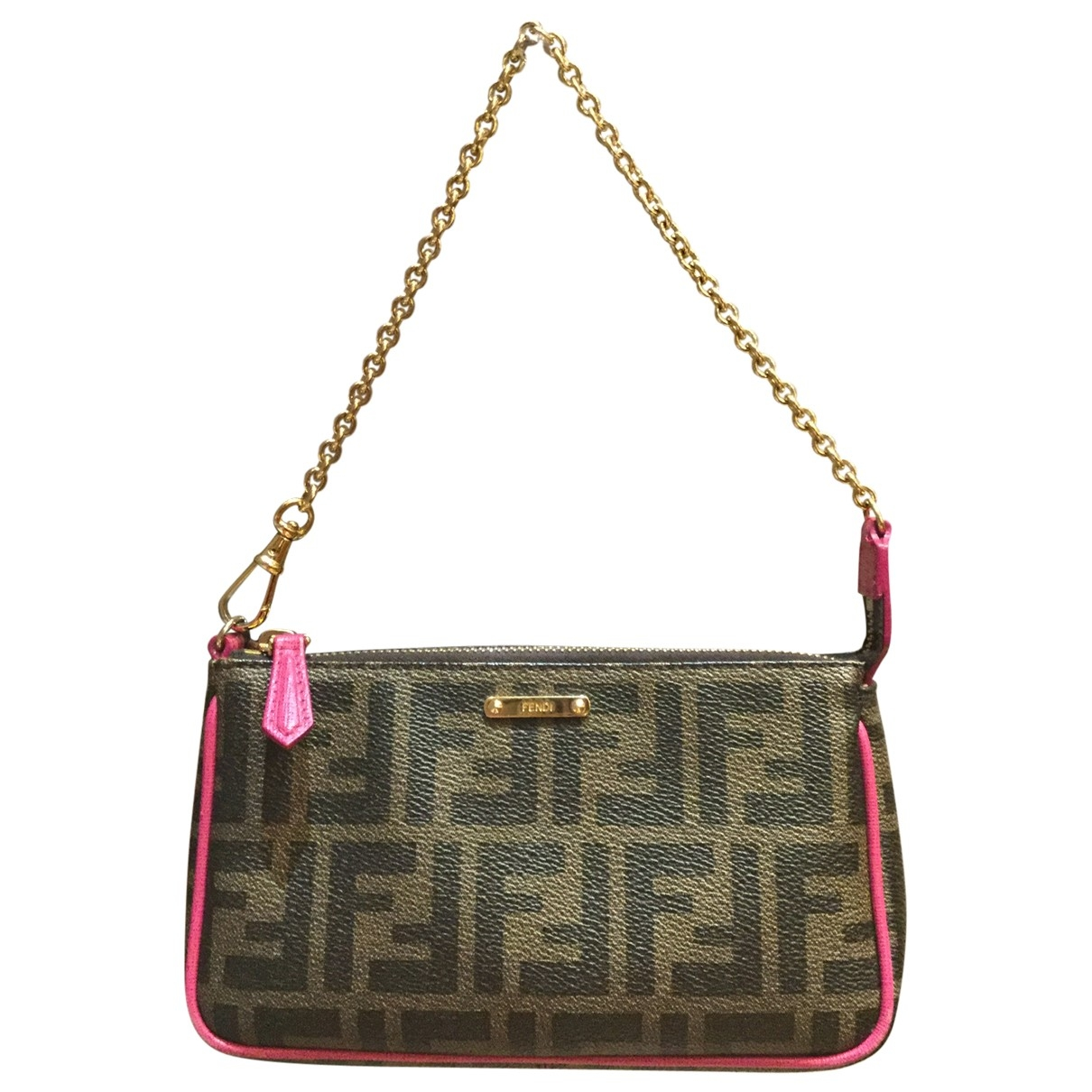 Fendi \N Clutch in  Braun Leinen