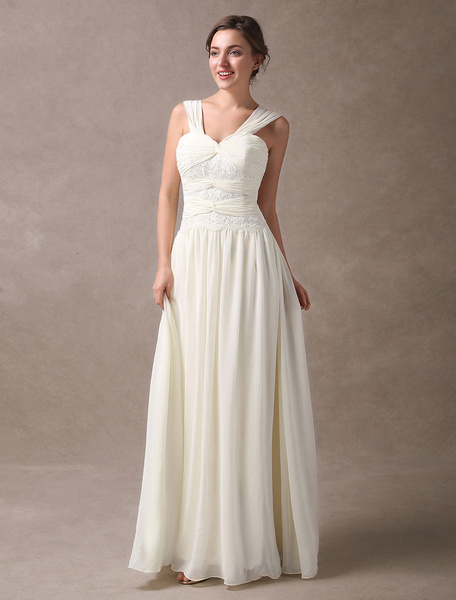 Milanoo Ivory Wedding Dresses Lace Chiffon Straps Twisted Floor Length Bridal Gowns