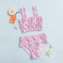 Bañador bikini de niñas de Tie Dye smocked