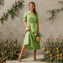 Embroidery Flounce Sleeve Solid A-Line Dress