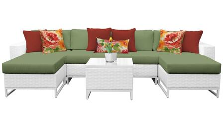 Miami MIAMI-07b-CILANTRO 7-Piece Wicker Patio Furniture Set 07b with 2 Armless Chairs  2 Ottomans  1 End Table  1 Left Arm Chair and 1 Right Arm