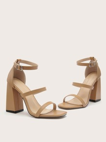 Double Strap Ankle Strap Chunky Heeled Sandals