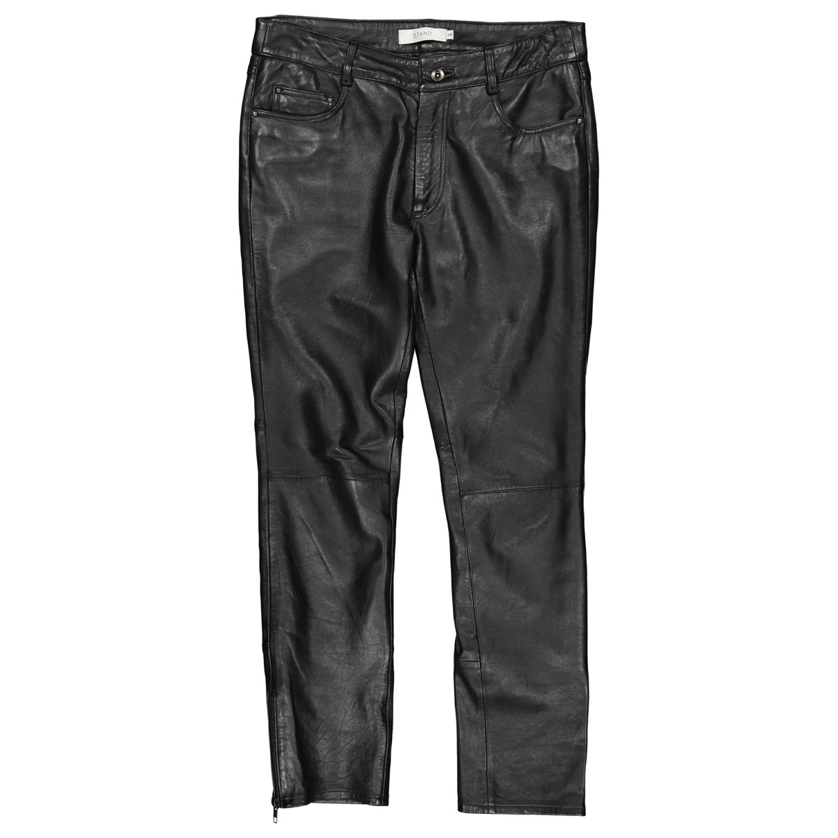 Stand Studio \N Black Leather Trousers for Women 38 FR
