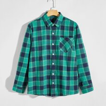 Guys Pocket Front Plaid Shirt
