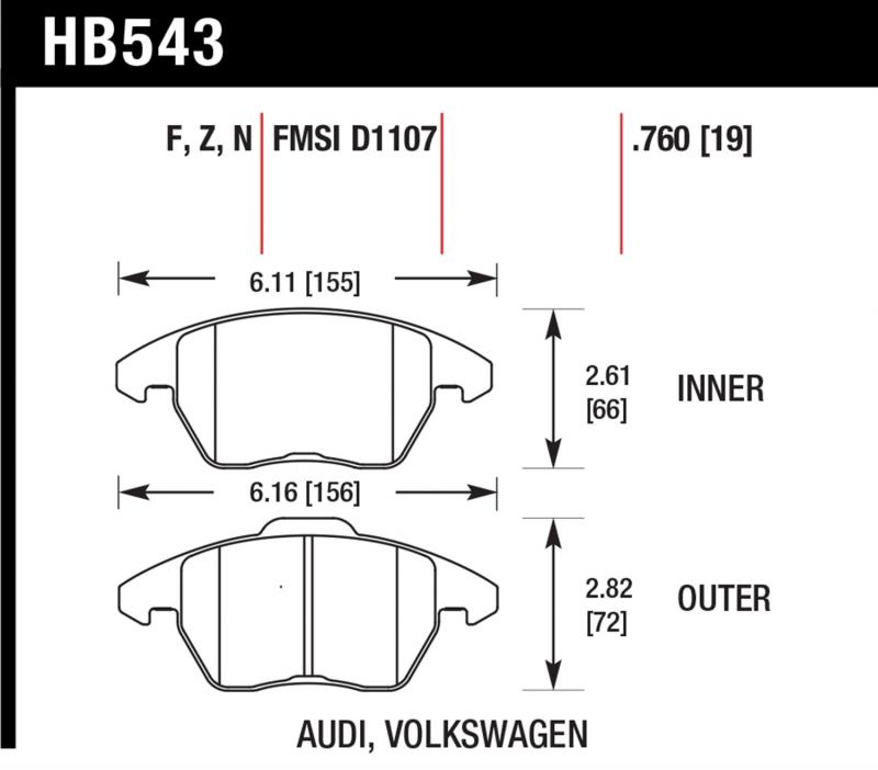 Hawk Performance HB543B.760 Disc Brake Pad Front