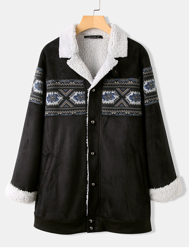 Ethnic Jacquard Patched Fluffy Thicken Coat