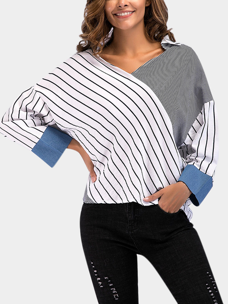 Yoins Color Block Stripe Casual V-neck Shirts