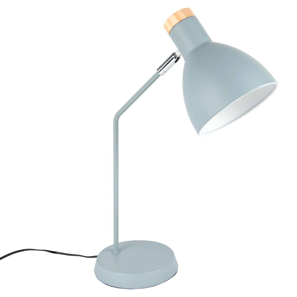 Lampe aus blauem Metall und Kiefernholz