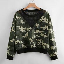 Sweatshirt mit Fischnetzstoff und sehr tief angesetzter Schulterpartie