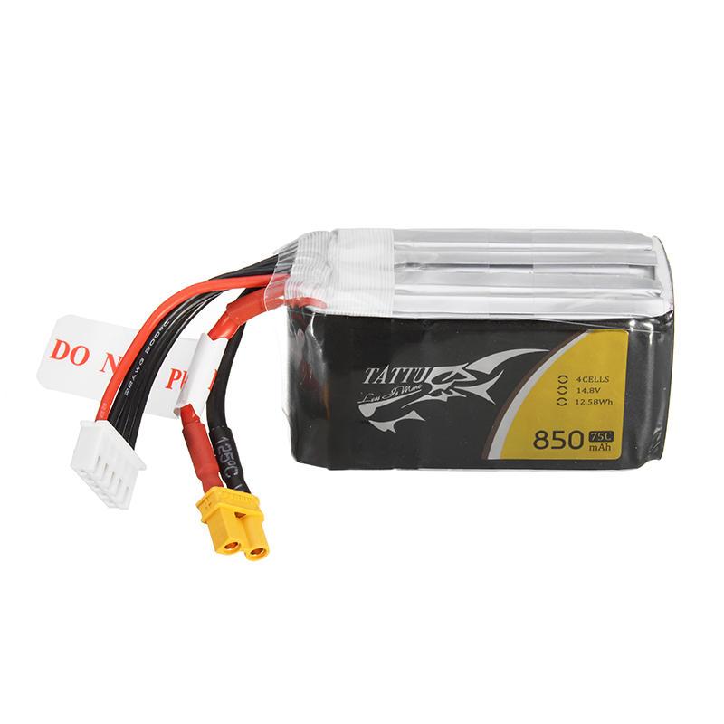 TATTU 14.8V 850mAh 75C 4S XT30U-F Plug Lipo Battery for 150mm 180mm Size FPV Multirotor