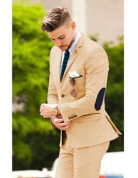 Mens Camel suit with elbow patches & pants (Slim Fit or Regular fit)