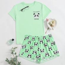 Plus Cartoon Panda Print Pajama Set