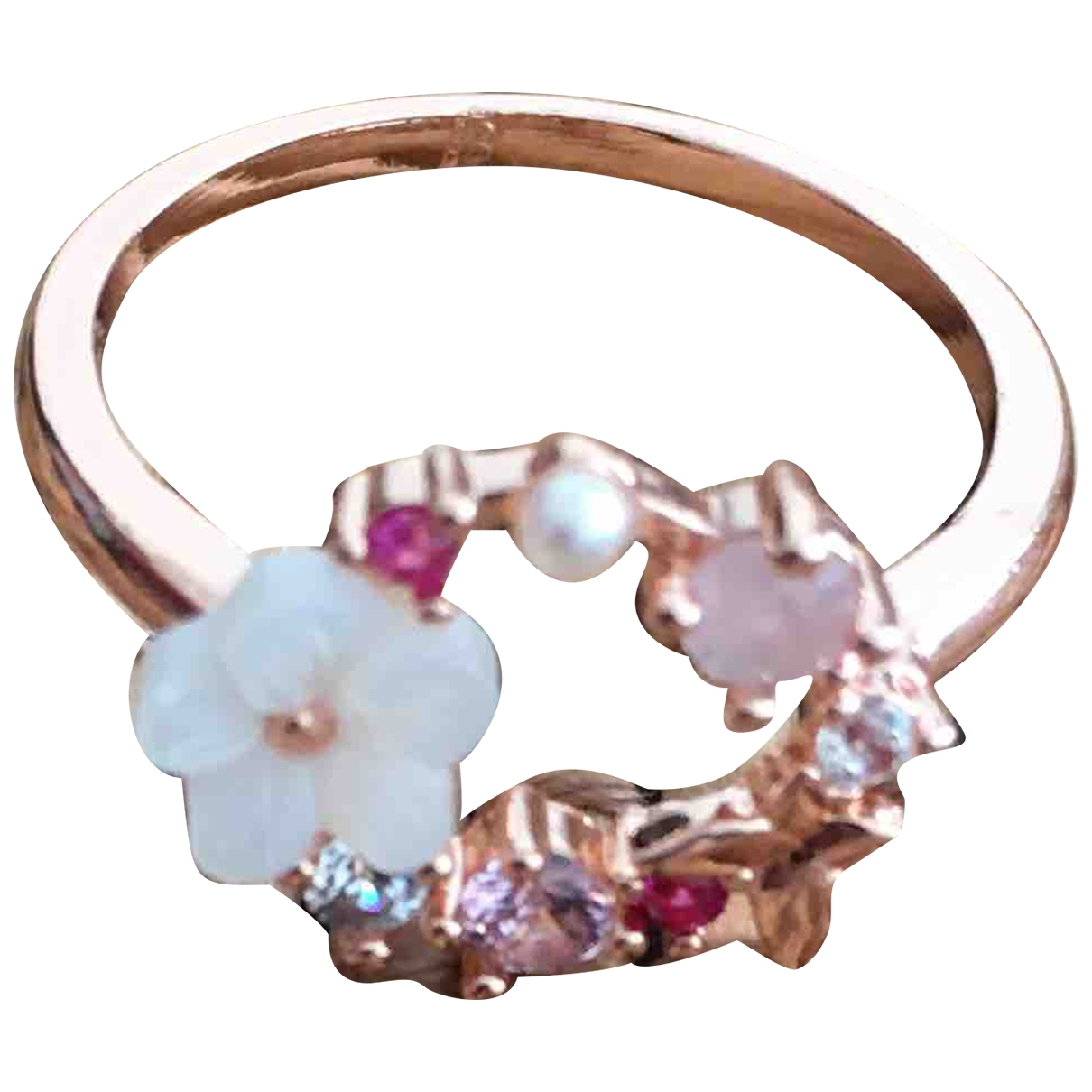 Non Signe / Unsigned Motifs Floraux Ring in  Rosa Metall
