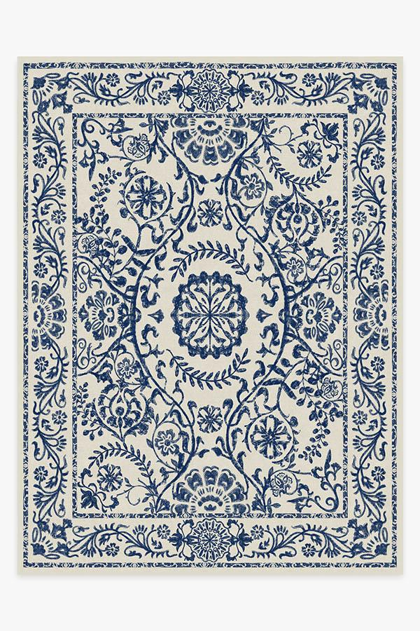 Washable Rug Cover & Pad | Delphina Delft Blue Rug | Stain-Resistant | Ruggable | 9'x12'