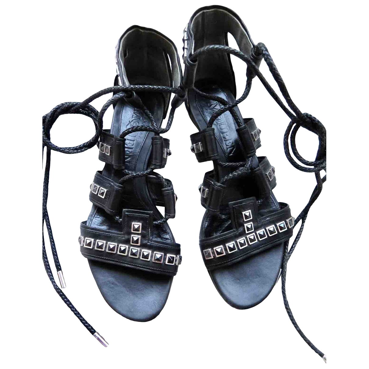 Alexander Mcqueen \N Black Leather Sandals for Women 39 EU