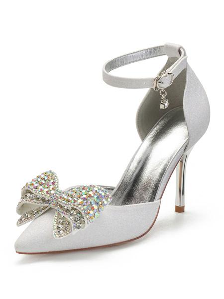 Milanoo Ivory Wedding Shoes SequinedPointed Toe Rhinestones Bow Ankle Strap Bridal Shoes