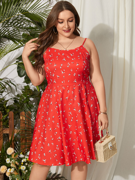 Yoins Plus Size Calico Backless Design Lace-up Design Sleeveless Dress