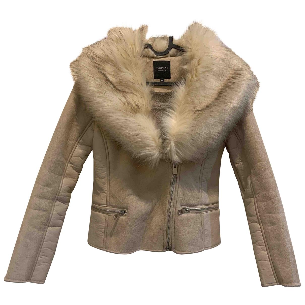 Barneys New York - Manteau   pour femme en fourrure synthetique - beige