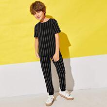 Boys Striped Top & Pants Set