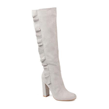 Journee Collection Womens Vivian-Xwc Dress Boots Block Heel Zip, 8 1/2 Medium, Gray