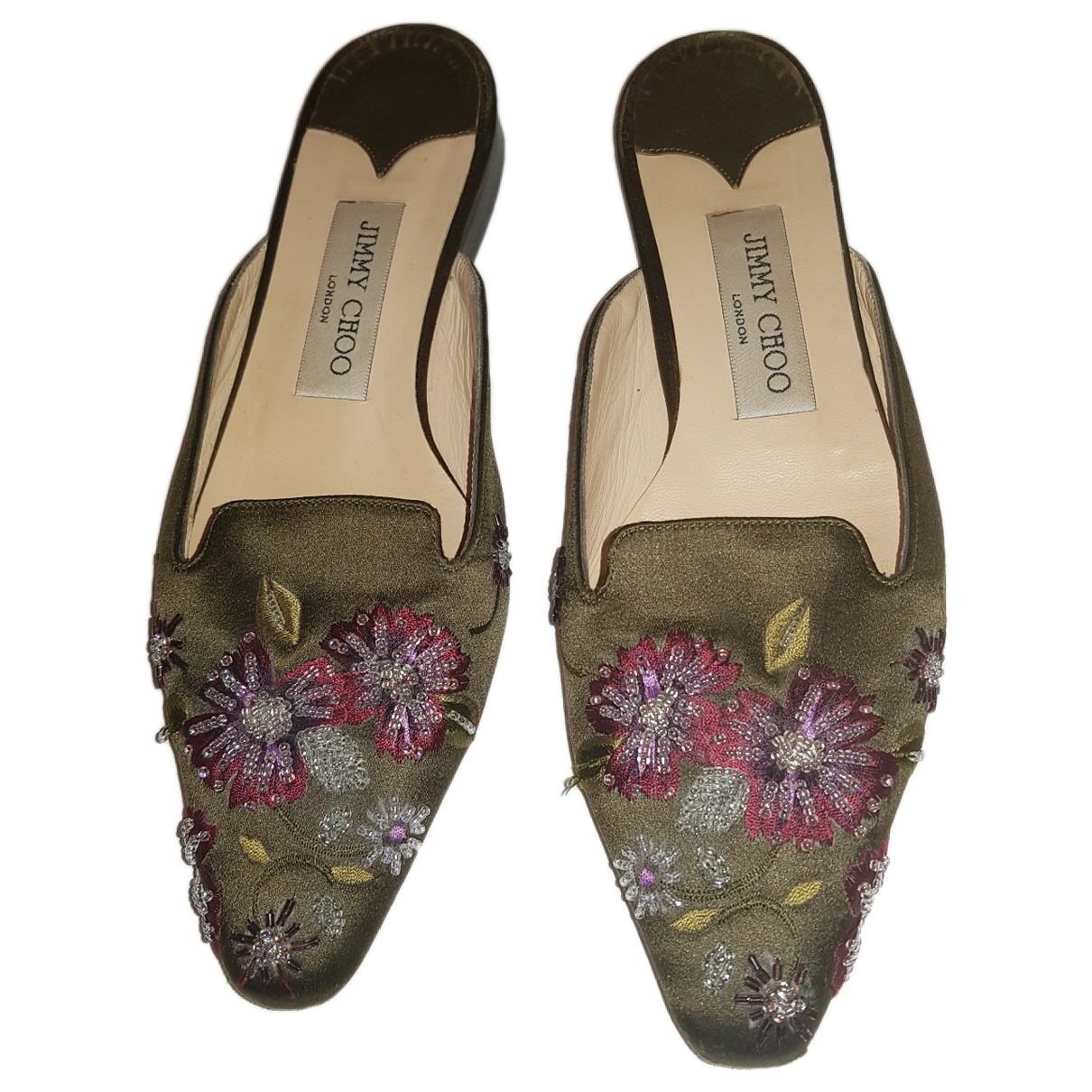 Jimmy Choo \N Khaki Cloth Flats for Women 36.5 EU