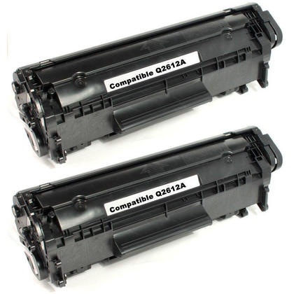 Compatible HP 12A Q2612A Black Toner Cartridge - Economical Box - 2/Pack