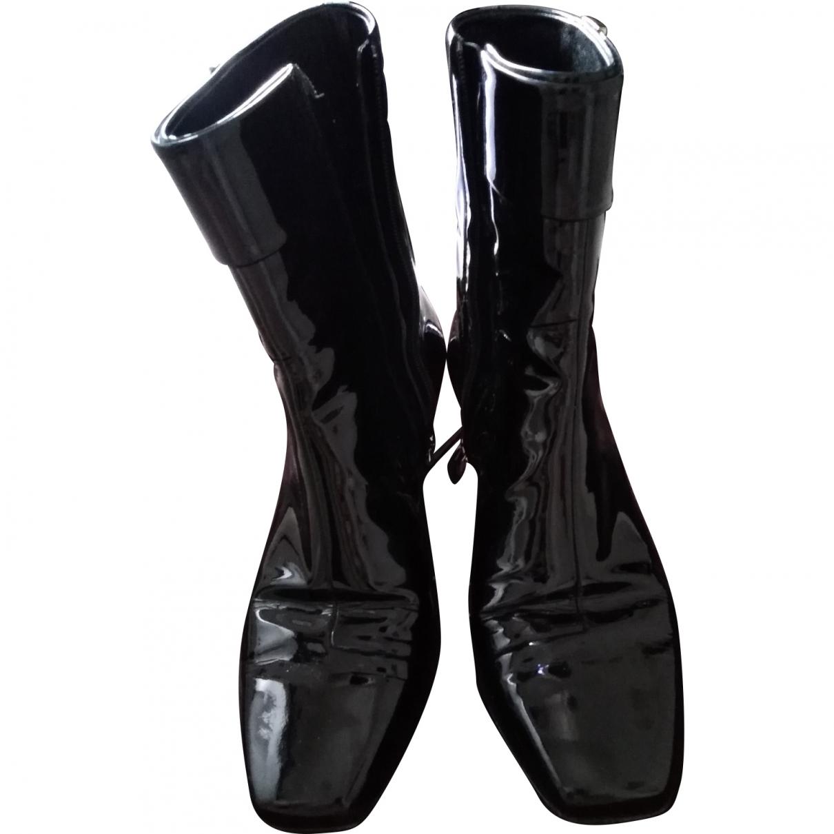 Gucci - Boots   pour femme en cuir verni - noir