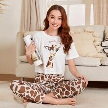 Conjunto de pijama con estampado de slogan y dibujos animados
