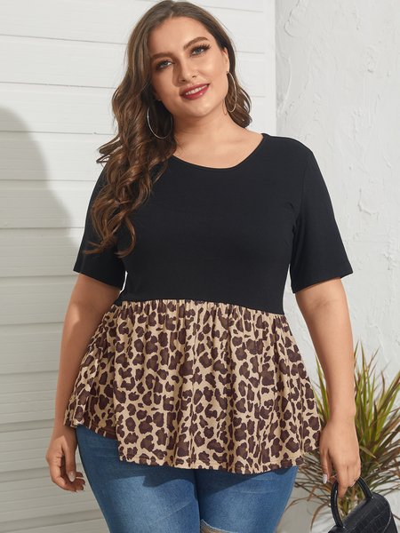 YOINS Plus Size Round Neck Patchwork Leopard Short Sleeves Tee