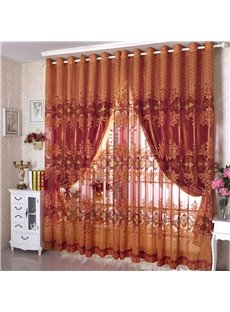 Polyester Orange Floral Pattern Shading Sheer Beads Curtain