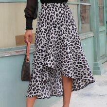 Leopard Print Asymmetrical Ruffle Hem Skirt