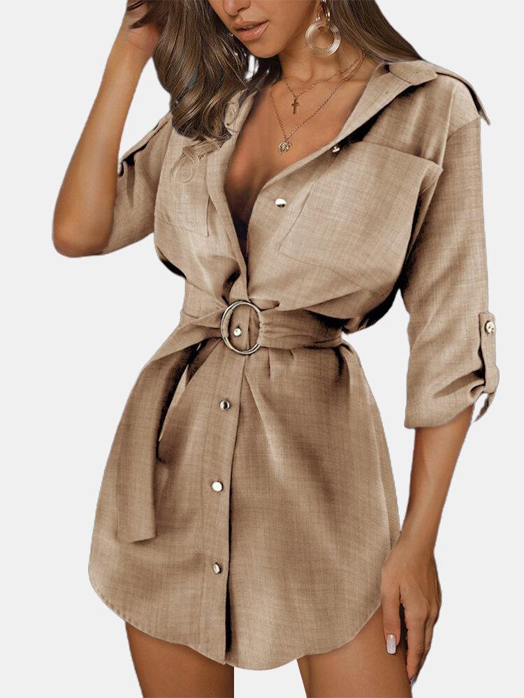 Solid Color V-neck Foldale Sleeve Chest Pockets Shirt Dress