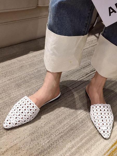 Milanoo Zapatos de diapositivas con puntera puntiaguda de cuero de PU de mujer blanca