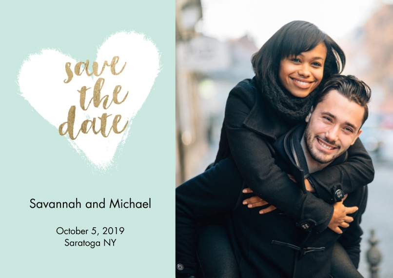 Save the Date 5x7 Cards, Premium Cardstock 120lb with Scalloped Corners, Card & Stationery -Save the Date Heart