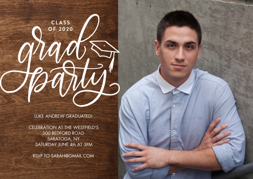 2020 Graduation Invitations 5x7 Cards, Premium Cardstock 120lb with Elegant Corners, Card & Stationery -Grad Party 2020 Script by Tumbalina