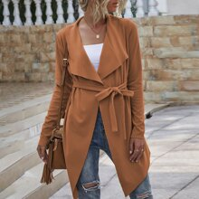 Suede Waterfall Collar Belted Coat