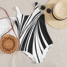 Graphic Scoop Neck One Piece Swimsuit