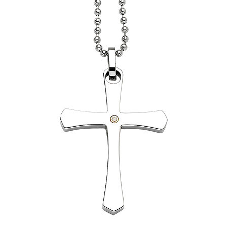 Mens Diamond Accent Stainless Steel & 14K Yellow Gold Accent Cross Pendant, One Size , No Color Family