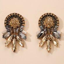 1pair Rhinestone Decor Flower Shaped Earrings