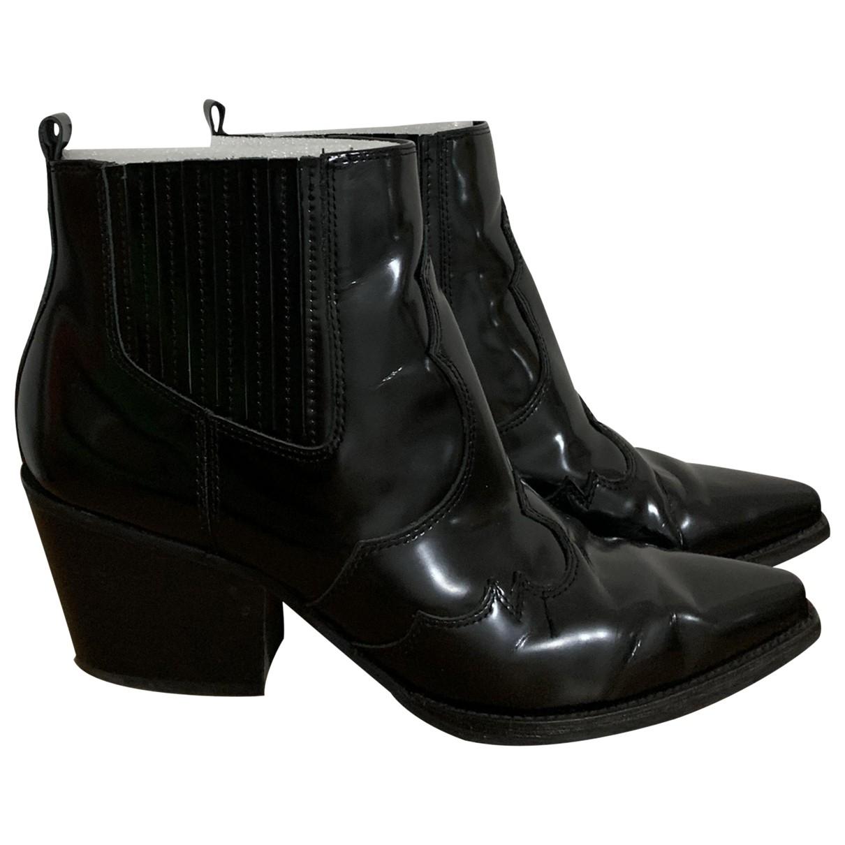 Sam Edelman - Bottes   pour femme en cuir verni - noir