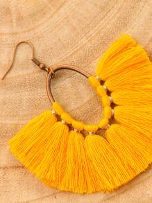4pairs Tassel Fan Drop Earrings