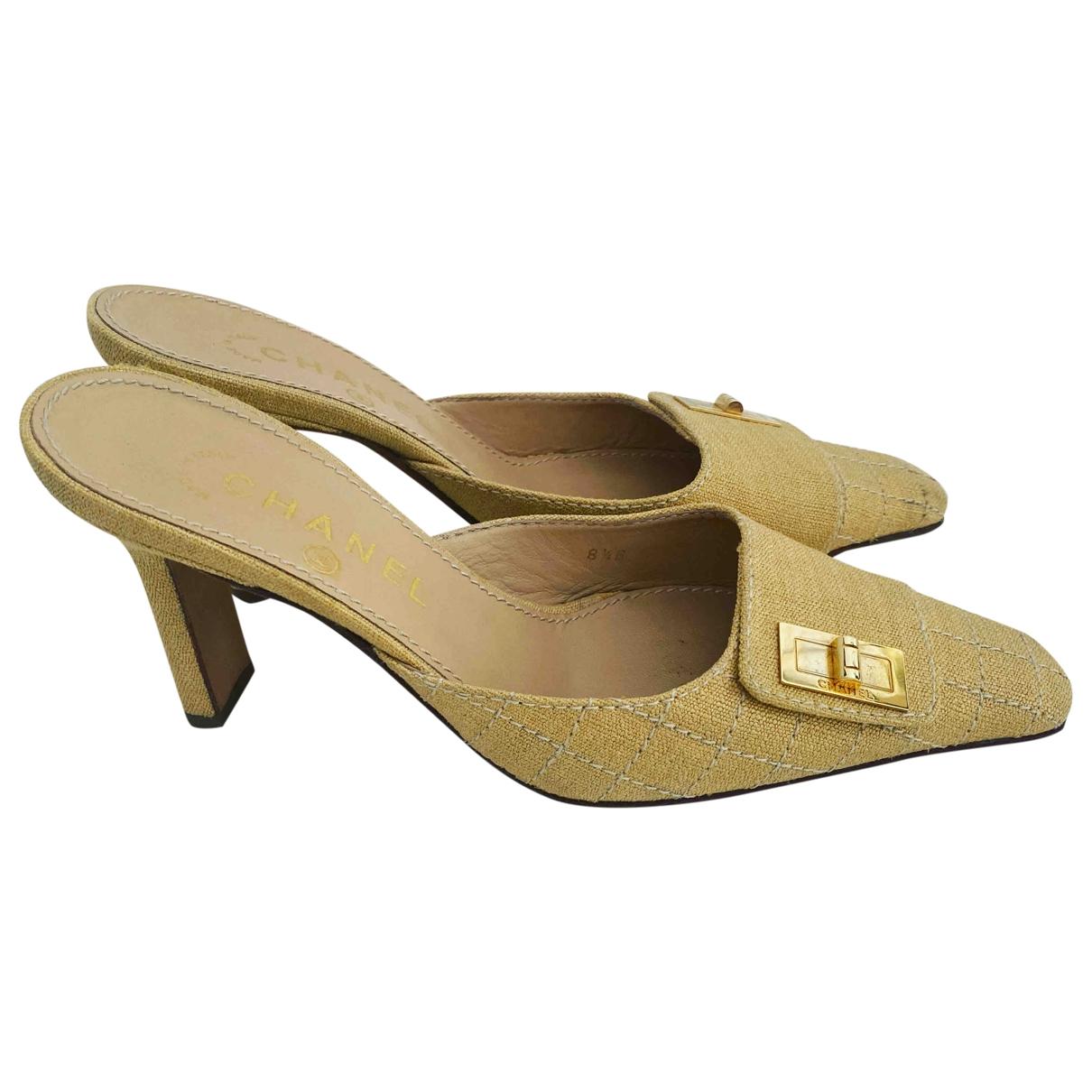 Chanel - Escarpins   pour femme en toile - jaune