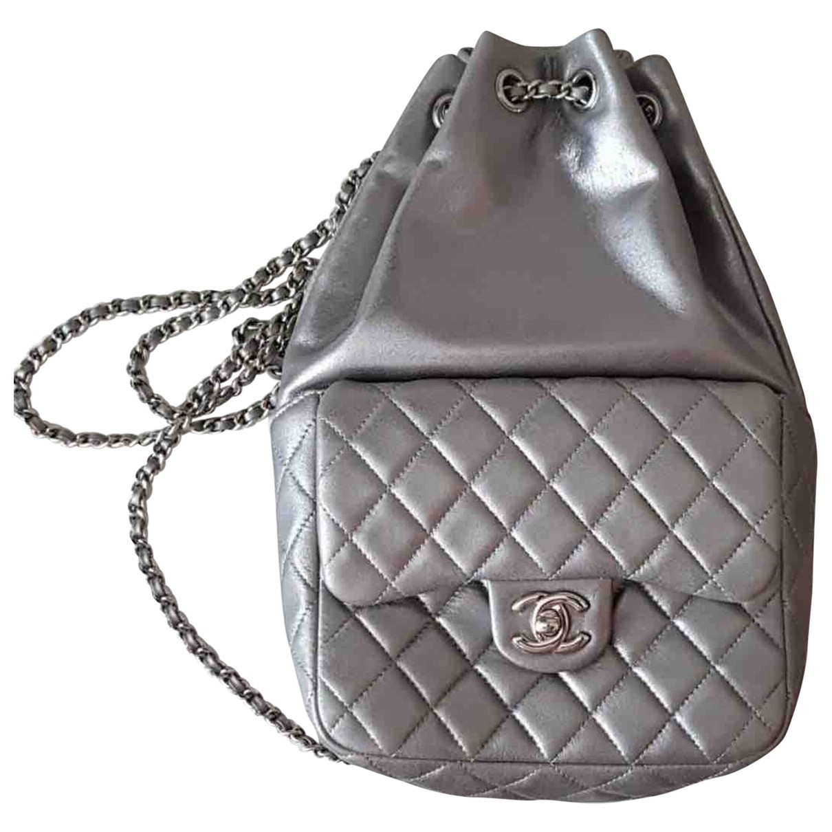 Chanel Timeless/Classique Silver Leather backpack for Women \N